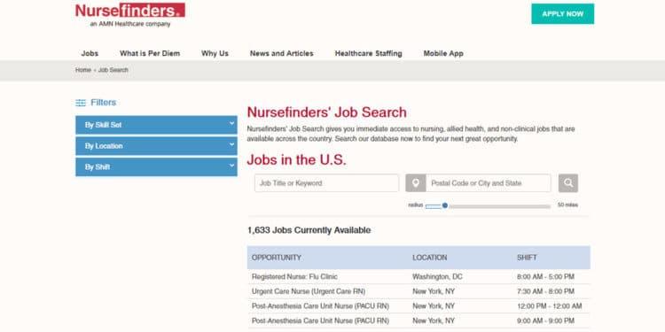 nurse finders mejor agencia para trabajos de medicina y enfermeria